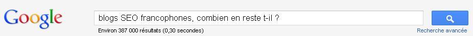 blogs seo francophones, recherche Google