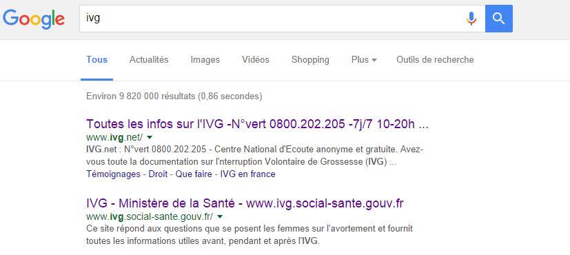 Résultats de recherche Google pour IVG