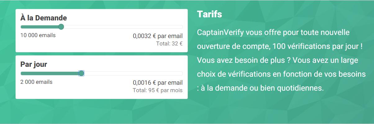 Capture d'écran des tarifs de CaptainVerify