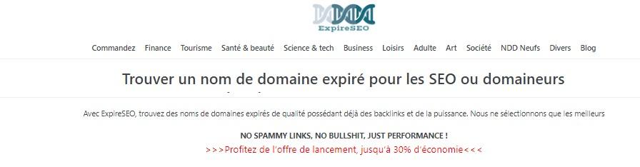 Capture d'écran du site ExpireSEO